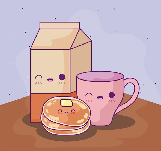 Pancakes con delizioso cibo in stile kawaii