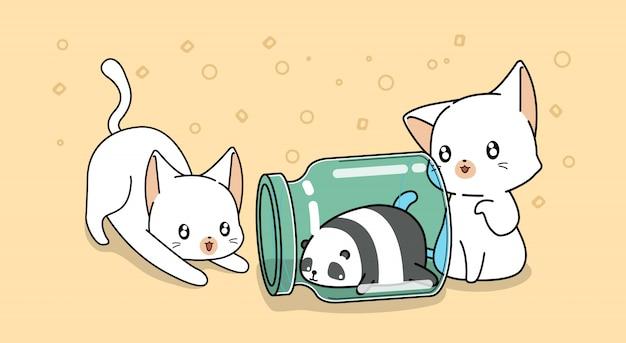 Panda all'interno della bottiglia con gatti kawaii in stile cartone animato