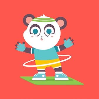 Panda carino con hula-hoop facendo esercizio fisico carattere.