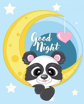 Panda carino con illustrazione della luna con amore e stella