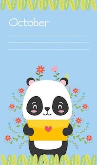 Panda carino con lettera d'amore, promemoria di ottobre, stile piatto