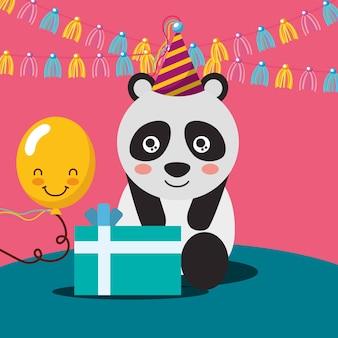Panda carino con palloncino kawaii