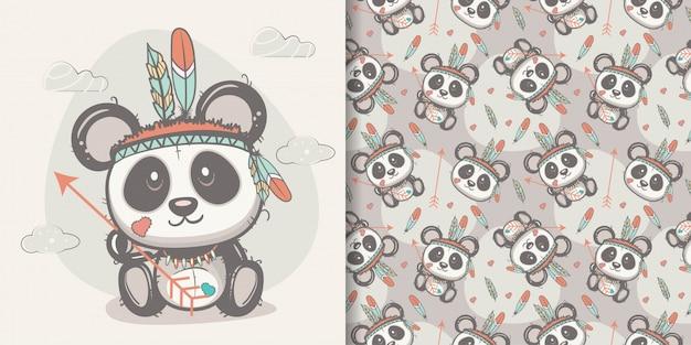Panda carino con piume con motivo senza soluzione di continuità