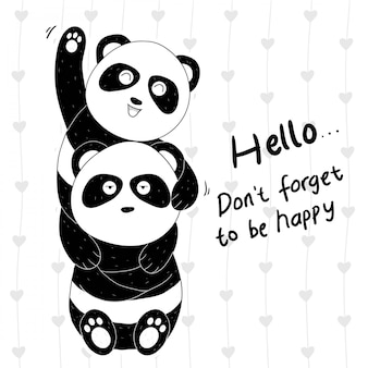 Panda carino disegnato a mano due coppie