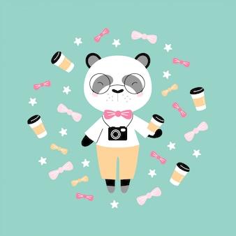 Panda carino hipster con caffè e macchina fotografica