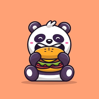 Panda carino mangiare hamburger fumetto illustrazione vettoriale. concetto di cibo animale vettore isolato. stile cartone animato piatto
