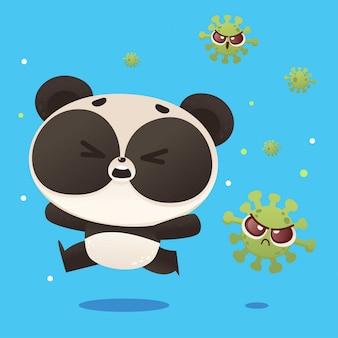 Panda che fugge dal virus della corona covid19, progettazione dell'illustrazione di scarabocchio del fumetto del carattere