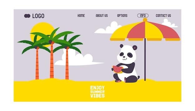 Panda che si siede sulla spiaggia sotto l'ombrellone. modello web della pagina di destinazione