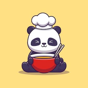 Panda chef icon illustration sveglio. concetto dell'icona dell'alimento animale isolato. stile cartone animato piatto