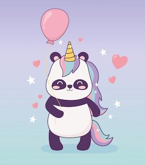 Panda con unicorno palloncino decorazione fumetto magico