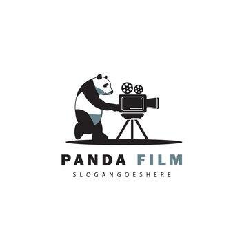 Panda creativo e logo del film della fotocamera
