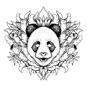 Panda di illustrazione disegnata a mano in bianco e nero con bambù e incisione ornamento premium