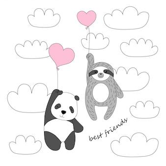 Panda e bradipo svegli volano su palloncini nel cielo
