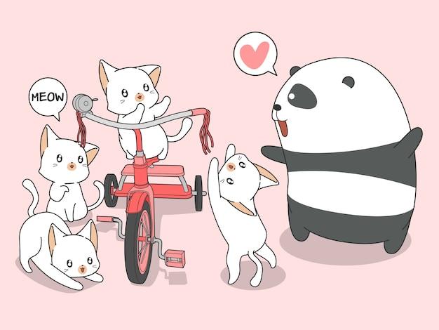 Panda e gatti kawaii con triciclo in stile cartone animato.