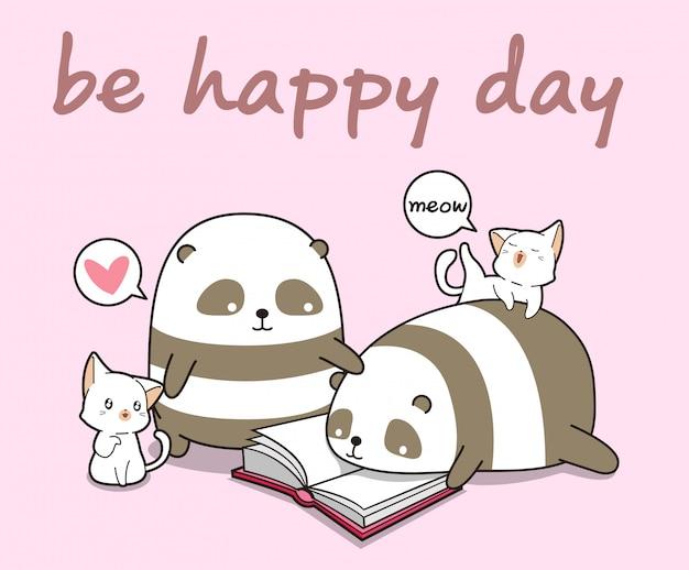 Panda e gatti kawaii stanno leggendo un libro