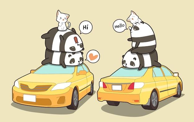 Panda e gatti sulla macchina gialla