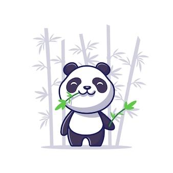 Panda eat bamboo cartoon icon illustration sveglio. icona animale concetto isolato. stile cartone animato piatto