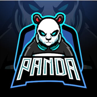 Panda gaming esport logo mascotte design