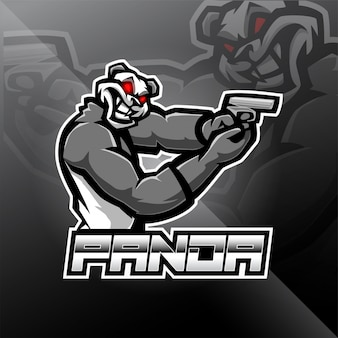 Panda gunner esport logo design mascotte