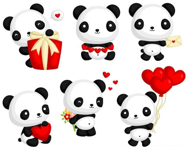 Panda in love vector set