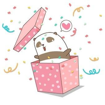 Panda kawaii disegnato a mano nella scatola rosa