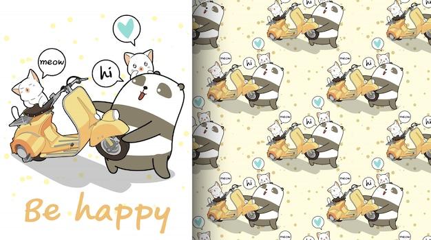 Panda kawaii senza soluzione di continuità sta sollevando un modello di moto