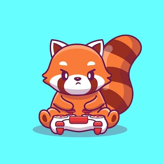 Panda red gaming cartoon icon illustration rosso sveglio. concetto animale dell'icona del gioco isolato. stile cartone animato piatto