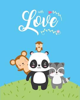 Panda, scimmia e gufo, simpatici animali con la parola amore, stile piatto