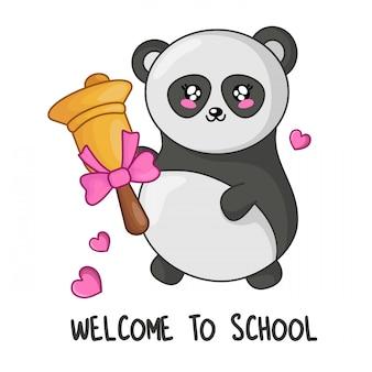 Panda simpatico cartone animato kawaii con campana d'oro, torna al concetto di scuola
