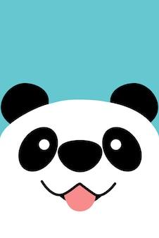 Panda sorridente faccia design piatto