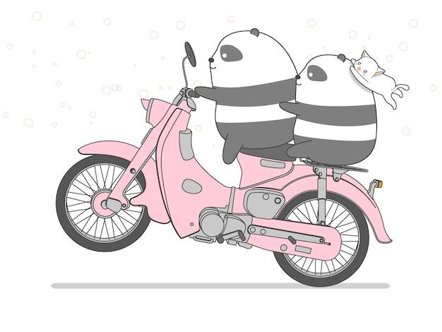 Panda sta cavalcando la moto in stile cartone animato.