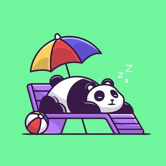 Panda sveglio che dorme sull'illustrazione di vettore del fumetto della panchina della spiaggia.