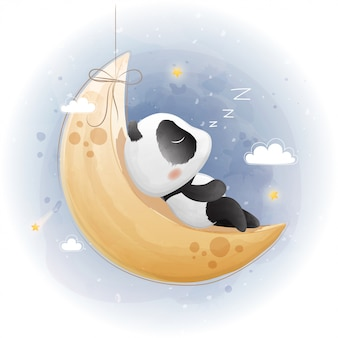 Panda sveglio che dorme sulla luna. stile acquerello