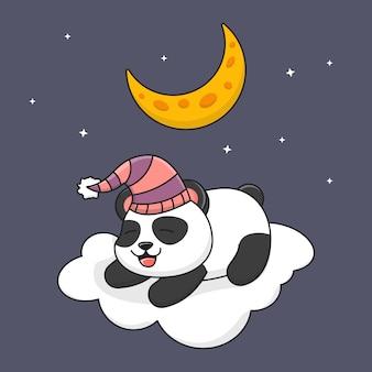 Panda sveglio che dorme sulla nuvola sotto la luna