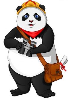 Panda sveglio che tiene binoculare