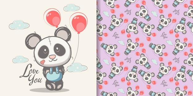 Panda sveglio disegnato a mano con set di pattern senza soluzione di continuità
