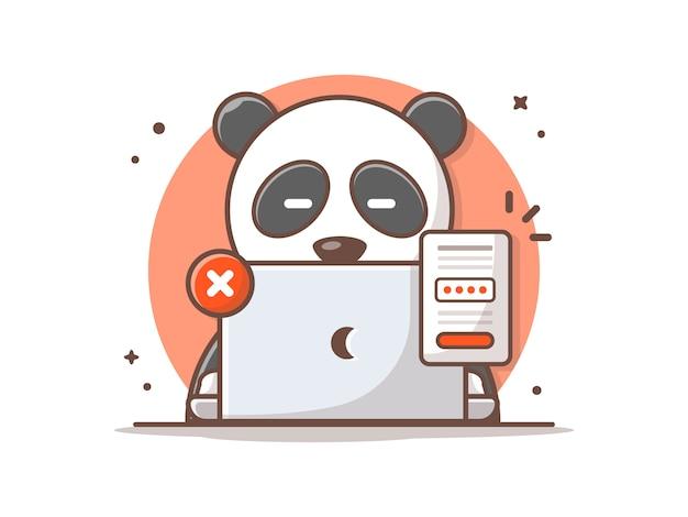 Panda sveglio ha dimenticato l'illustrazione dell'icona di vettore di password.