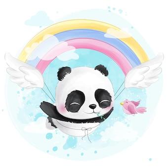 Panda volante carino con arcobaleno