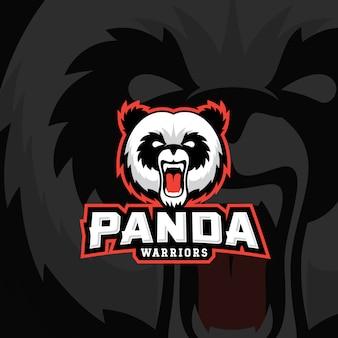 Panda warriors, emblem o logo template. etichetta sport team mascot. fronte dell'orso arrabbiato con tipografia.