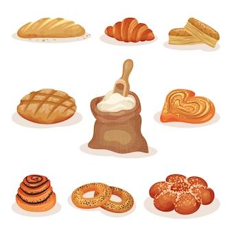 Pane appena sfornato e prodotti da forno pasticceria set, pagnotta, panini dolci, cornetto, bagel illustrazione su uno sfondo bianco