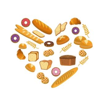 Pane delizioso, ciambelle e biscotti da forno