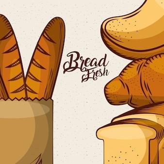 Pane fresco baguette in sacchetto di carta brindisi manifesto di assortimento intero cuocere