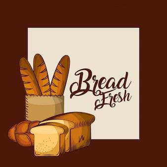 Pane fresco baguette in sacchetto di carta intero e brindisi poster di panetteria
