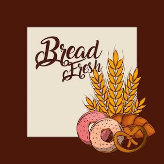 Pane fresco ciambelle pretzel manifesto di grano intero panetteria