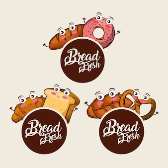 Pane fresco kawaii set cibo croissant ciambella pretzel cartoon