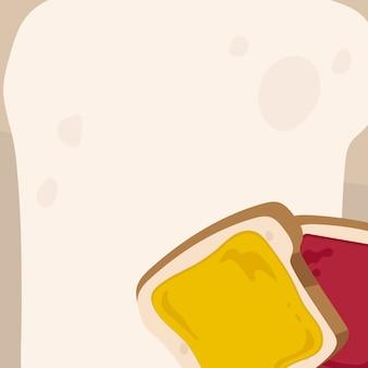 Pane, marmellata e sfondo di pane tostato.