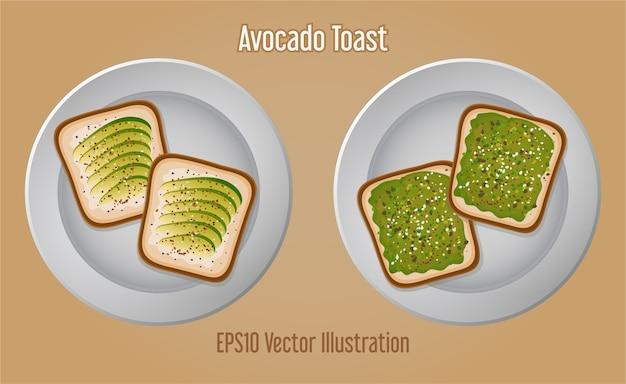 Pane tostato delizioso del panino dell'avocado sul piatto bianco