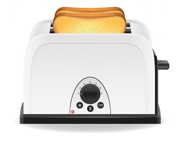 Pane tostato in un'illustrazione di vettore del tostapane