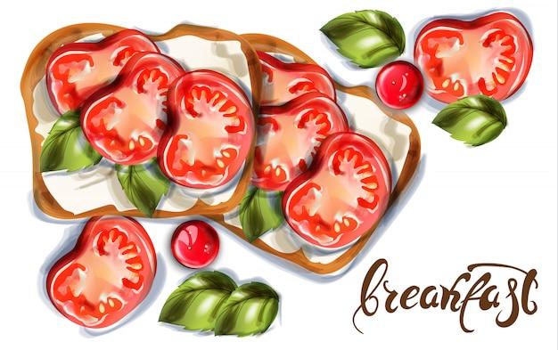Pane tostato per la colazione con formaggio di capra e pomodorini