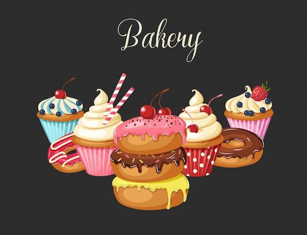 Panetteria dolce su fondo nero. ciambelle glassate, cheesecake e cupcakes